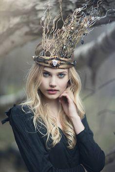 Lisa Marinucci`s Austrian Crystal ,beaded silk twig crown