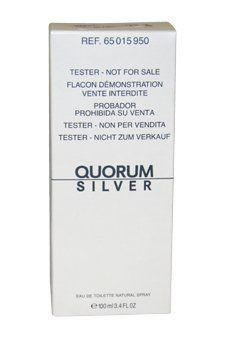 Antonio Puig Quorum Silver Eau De Toilette Spray Tester for Men, 3.4 Ounce by Antonio Puig. $12.87. Men 3.4 Oz. By Puig. Quorum Silver. Tester. This was launched by the design house of Antonio Puig in the year 2005.The nose behind this fragrance is Antonio Puig.Top notes are bergamot, ginger, artemisia, mandarin, cardamom and lavender;middle notes are red pepper, cinnamon and nutmeg.Base notes arecedar, patchouli, guaiac wood and amber.This fragrance is classified as Masculin...