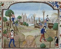 Gathering fruit-wood cutting-reaping. Netherlands 1482. Royal 15 E II BL