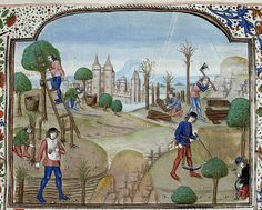 Gathering fruit-wood cutting-reaping. Netherlands 1482. Royal 15 E II BL