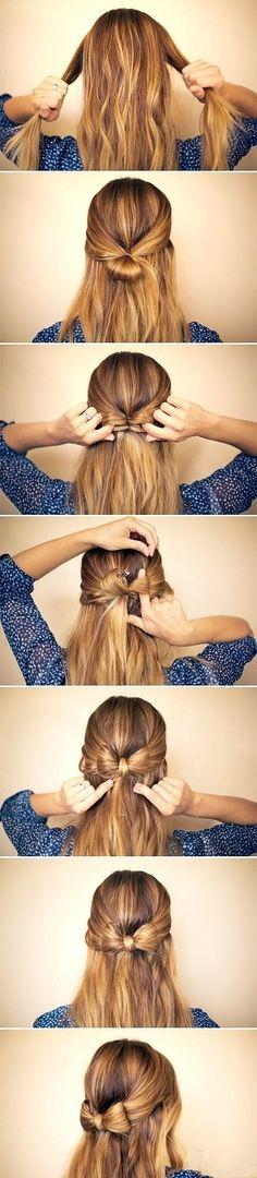 Five interesting DIY hair bow tutorials. Find out how to make bow out of your hair. Make bow in your hair as hair bow bun, or together with brad,fishtail. My Hairstyle, Pretty Hairstyles, Ribbon Hairstyle, Braided Hairstyle, Bow Hairstyles, Wedding Hairstyles, Hair Knot, Simple Hairstyles, Amazing Hairstyles