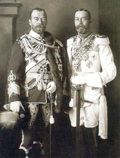King George V of Great Britain and Tsar Nicholas II of Russia in Berlin, 1913 - first cousins