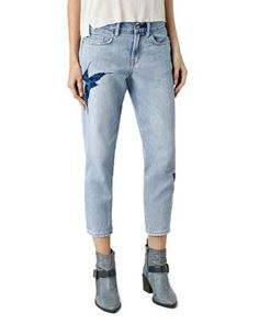ALLSAINTS Birds Embroidered Jeans in Indigo Blue   Bloomingdale's