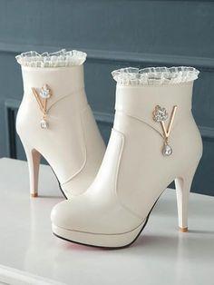 New Beige Round Toe Rhinestone Fashion Ankle Boots heels boots New Beige Round Toe Rhinestone Fashion Ankle Boots Fancy Shoes, Pretty Shoes, Shoes High Heels, Stiletto Heels, Shoe Vamp, Kawaii Shoes, Aesthetic Shoes, Hype Shoes, Fashion Heels