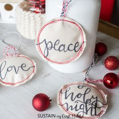 These Adorable Christmas Are Perfect For Decorating, Gifting As Stocking Stuffers And More. Sewing Christmas Ornaments Can't Get Easier Than This Sewn Christmas Ornaments, Letter Ornaments, Diy Christmas Gifts, Handmade Christmas, Christmas Ideas, Christmas Decorations, Santa Crafts, Primitive Crafts, Kid Bedrooms