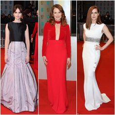Red Carpet glam at the Bafta Awards 2015,  Felicity Jones in Dior Haute Couture, Julianne Moore in Tomford & Amy Adams in Lanvin.