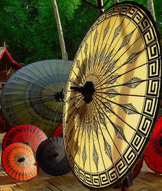 Pathein Htee (Umbrella from Pathein City,).  Pathein is the Burmese name and Bassein is the English name for this town where these umbrellas are made.
