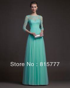 Fulgurant  High Neck Lace Top Mint Green Tulle Long Sleeves Prom Gowns  2014 $108.00