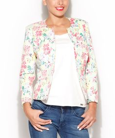 Love this Yellow & Pink Floral Open Jacket by Katrus on #zulily! #zulilyfinds