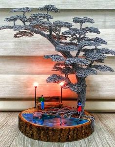 Creative Lamps, Creative Art, Copper Wire Art, Bonsai Wire, Wire Art Sculpture, Wire Trees, Diy Crafts For Gifts, Metal Tree, Wire Crafts