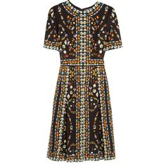 Alexander McQueen Pleated printed crepe dress ($3,295) ❤ liked on Polyvore featuring dresses, black, embellished dress, alexander mcqueen, alexander mcqueen dresses, print dress and colorful print dresses