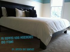 DIY #Build a King Size Bed Frame and Headboard.  We are building one of these for the guest room at the lake.