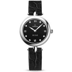 Omega De Ville Prestige Black Diamond Dial Leather Strap Ladies Watch (14,915 CNY) ❤ liked on Polyvore featuring jewelry, watches, omega watches, black diamond jewelry, black face watches, omega jewelry and leather strap watches