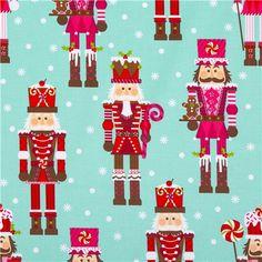 aqua nutcracker Christmas fabric by Michael Miller 1