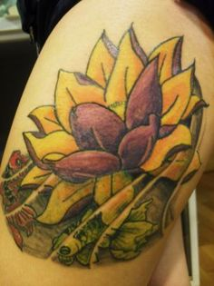 Lotus tattoo inked on thigh...