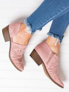 7a27603fe41ea Hollow-out Low Heel Cutout Booties Faux Suede Zipper Ankle Boots