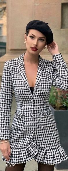 Hounds Tooth, Wrap Dress, Collections, Blazer, Black And White, Jackets, Dresses, Women, Fashion