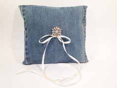 Blue Denim Ring Bearer Pillow-Blue Jeans Ring Bearer Pillow,Country Wedding,Barn… Blue Pillows, Throw Pillows, Blue Denim, Blue Jeans, Ring Bearer Pillows, Barn, Trending Outfits, Unique Jewelry, Handmade Gifts