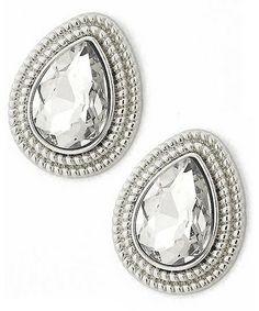 437225 Rhodiumized / Clear Glass / Lead&nickel Compliant / Tear Drop Button / Post Earring Set