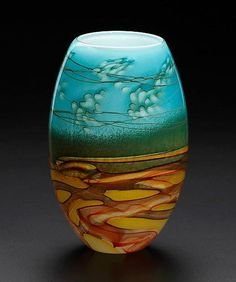 Small Landscape Vase by John & Heather Fields: Art Glass Vase available at www.artfulhome.com
