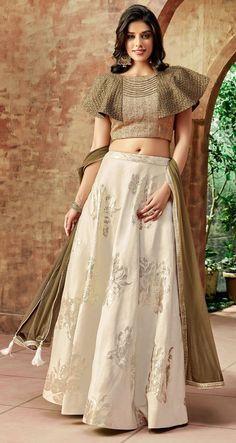 Buy Off White Silk Embroidered Designer Lehenga Choli Online Saree Blouse Neck Designs, Choli Designs, Fancy Blouse Designs, Designs For Dresses, Lehenga Designs, Choli Dress, Lehenga Blouse, Silk Lehenga, Ghagra Choli