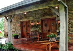 porch...doors...stained concrete with brand!