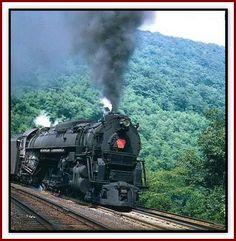 PRR Steam on the Horseshoe Curve, Altoona Pennsylvania (~1950).