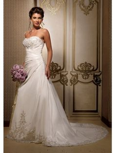 A-Line Strapless Chapel Trailing Embroidery Lace Up Back Organza Royal Wedding Dresses
