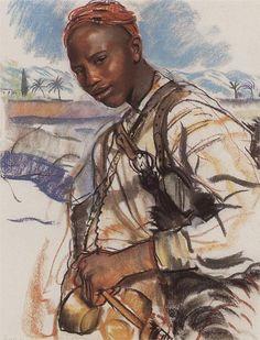 Zinaida Serebriakova (Russian 1884–1967) [Impressionism] Water carrier. Morocco, 1928.