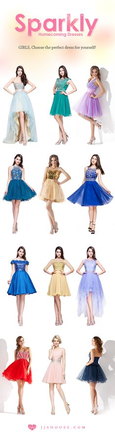 Sparkly Homecoming Dresses GIRLS, Choose the perfect dress for yourself! #Homecomingdresses