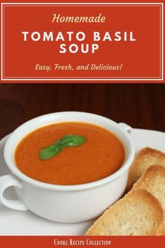 Homemade Tomato Basil Soup Recipe - Serve home style with a grilled cheese sandwich or ad a gourmet twist by adding garnishes. Homemade Tomato Basil Soup Recipe - Serve home style with a grilled cheese sandwich or ad a gourmet twist by adding garnishes. Crockpot Recipes, Soup Recipes, Cooking Recipes, Chili Recipes, Fall Recipes, Delicious Recipes, Vegan Recipes, Keto Friendly Desserts, Low Carb Desserts