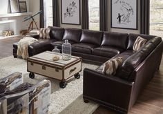 Bozeman Dark Chocolate Vintage Leather LAF Sectional from Lazzaro | Coleman Furniture