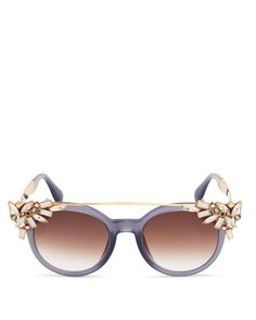 Eye-catching embellishments perfect this trendsetting pair of sunnies from Jimmy Choo. | Made in Italy | 100% UV protection | Logo at temples | 51 mm lens width | Web ID:1666740