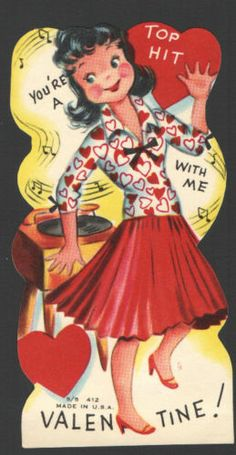 Vintage Valentines Card You're A Top Hit Old Record Player Girl Dancing Hearttop… My Funny Valentine, Vintage Valentine Cards, Vintage Greeting Cards, Vintage Holiday, Valentine Day Cards, Vintage Postcards, Happy Valentines Day, Vintage Images, Valentine Ideas