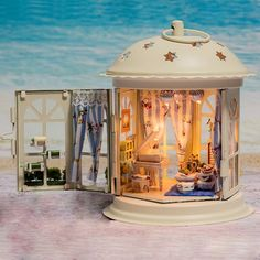 Dollhouse Miniature Metal DIY Kit w/ Light Piano Like a Dream Love Romantic Home