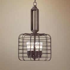 "Makade's room? (4 60 watt bulbs) Industrial Cage 14 1/2"" Wide Rust Metal Pendant Light - #W8377 | LampsPlus.com $199"