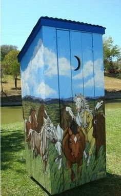 """Decorated Outhouse on display in the """"Thunderbox Road"""" art exhibition featuring 12 full-sized """"Thunderboxes"""" or outhouses painted and decorated in true Texas style."""