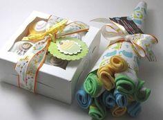 Onesie Cupcake& Washcloth Flower Bouquet
