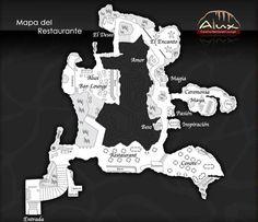 Cavern Map, Alux Restaurant, Playa del Carmen