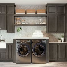 Why settle for just a laundry room when you can have it all? Designed using 660 Cherry Slate cabinets, this multipurpose space is practical and super stylish! #waypointlivingspaces #kitchencabinets #kitchenremodel #CherrySlate Dining Hutch, Shotgun House, Bath Cabinets, Cherry Cabinets, Kitchen Backsplash, Kitchen And Bath, Room Inspiration, Laundry Room, Kitchen Remodel