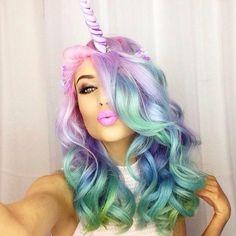Stunningly Styled Unicorn Hair Color Ideas – My hair and beauty Pelo Multicolor, Hair Addiction, Unicorn Makeup, Unicorn Hair Color, Unicorn Fancy Dress, Maquillage Halloween, Mermaid Hair, Mermaid Makeup, Crazy Hair