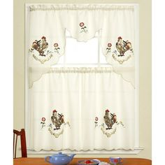 Rooster Kitchen Curtains | AMANDA ROOSTER EMB KITCHEN CURTAIN - 60X36 & 30X36 - Kitchen Curtains ...