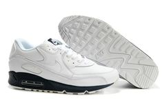 302519 115 Nike Air Max 90 Leather White White Midnight Navy AMFM0667