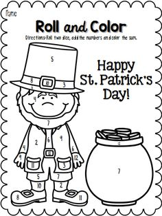 St. Patrick's Day Roll and Color Pages!