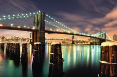 After the Snow, Brooklyn Bridge at Night, NYC by andrew c mace, via Flickr