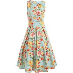 Sleeveless Floral Print A Line Dress (€21) ❤ liked on Polyvore featuring dresses, floral day dress, floral print dress, sleeveless a line dress, green floral dress and sleeveless floral dress