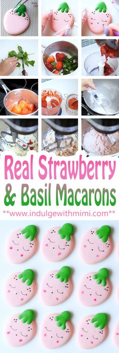 Recipe for adding REAL strawberries to a Swiss Buttercream while keeping it sturdy and not too moist for use as a macaron filling. Includes macaron template & video