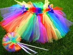 Items similar to Rainbow Bright Tutu and Magic Wand Set on Etsy Rainbow Birthday Party, Unicorn Birthday, Unicorn Party, 1st Birthday Parties, Rainbow Fairies, Rainbow Tutu, Rainbow Brite, Rainbow Outfit, Tutu Bailarina