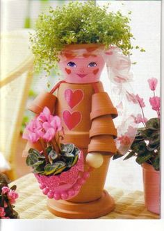 Diy clay pot crafts ideas – Little Piece Of Me - Cactus DIY Clay Pot Crafts, Diy Clay, Mosaic Garden, Garden Art, Concrete Backyard, Paving Ideas, Clay Pot People, Backyard Ideas For Small Yards, Decorated Flower Pots