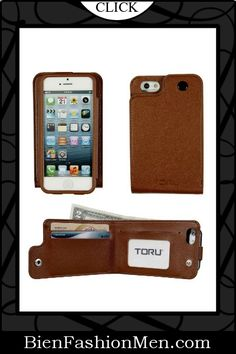 Mens iPhone Wallet ♦ iPhone Case ♦ Phone Wallet ♦ TORU Saffiano Backflip Wallet Case for iPhone 5 (AT, Sprint, T-Mobile, Verizon & All International models) - Brown $19.99